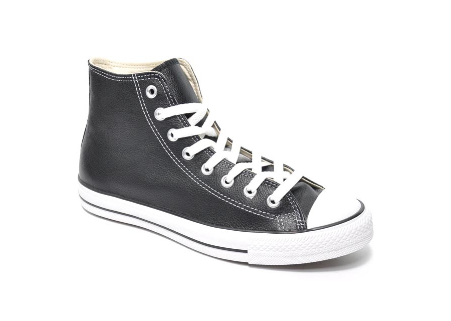 All Star Hi Black Leather