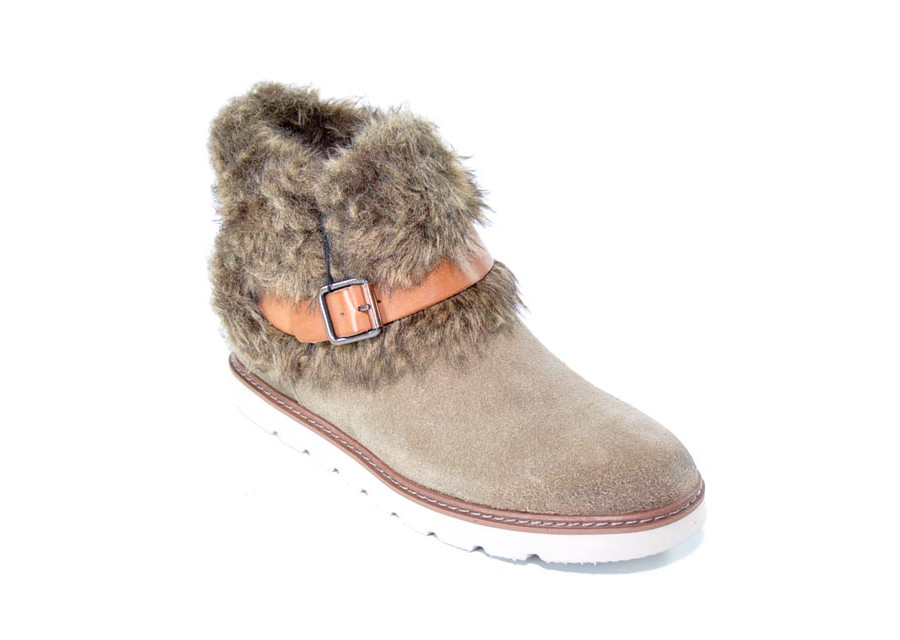 Taupe Fur Collar Boot